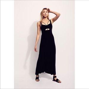 Free People Hypnotized Knit Maxi Dress in Black